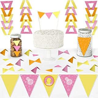 Big Dot of Happiness Pink Ducky Duck - Diy Pennant Banner Decorations - Baby Shower or Birthday Party Triangle Kit - 99 Pieces