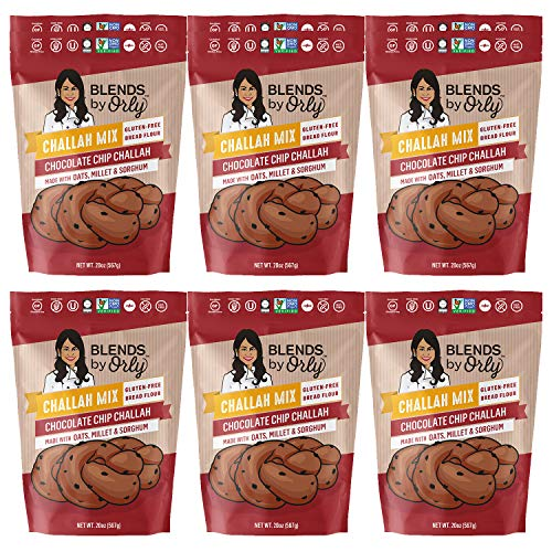 Gluten Free Chocolate Chip Challah Mix - Baking Mix for Gluten Free Chocolate Chip Challah Bread, GF Chocolate Chip Dinner Rolls & Chocolate Chip Babka From Blends by Orly 123 Oz (Pack of 6)
