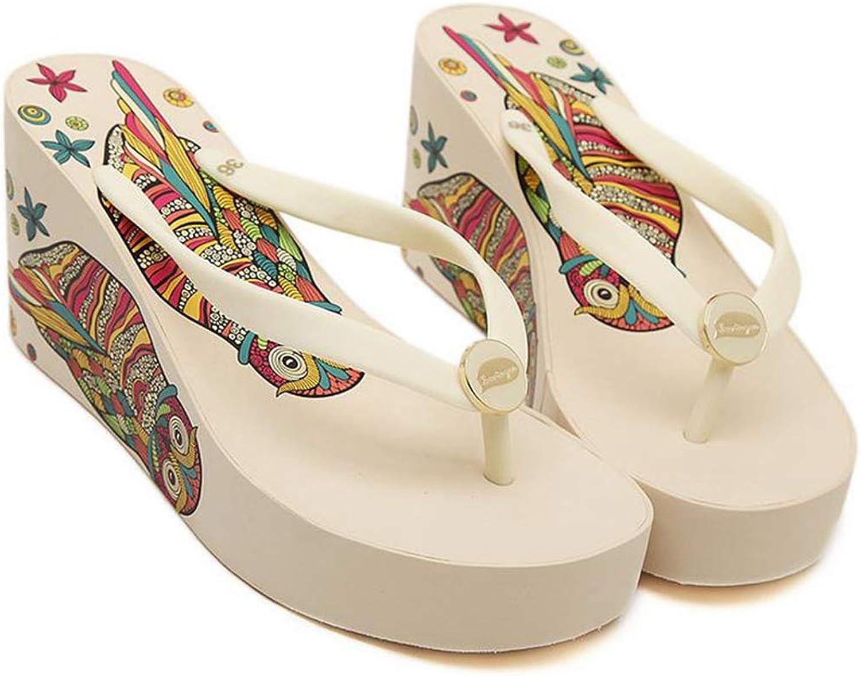 Fay Waters Women Wedges Sandals Printed Owl High Heel Slippers Non-Slip Beach Flip Flops