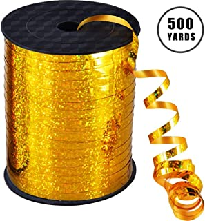500 Yards Gold Crimped Curling Ribbon Shiny Metallic Balloon String Roll Gift Wrapping Ribbon for Party Festival Art Craft Decor Florist Flowers Decoration
