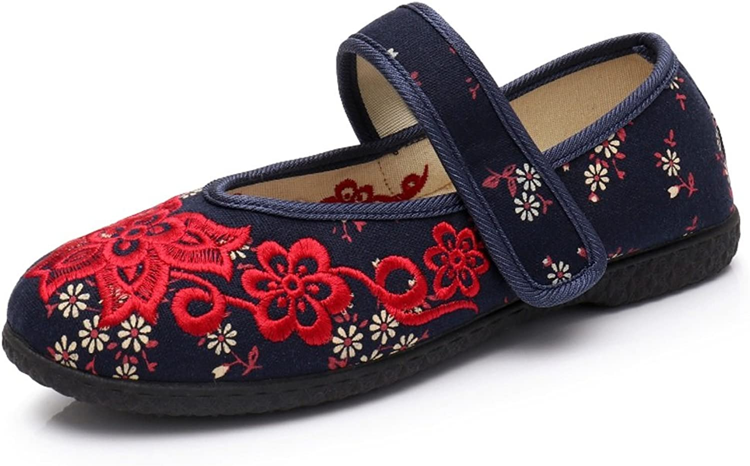 Women's National Wind Embroidered shoes Middle-Aged Flat Casual Cloth shoes Velcro Anti-Slip Mom shoes (color   bluee, Size   38)
