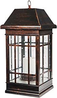Smart Solar 3900KR1 San Rafael Mission Style Solar Lantern, Lantern is Illuminated by 2 High Performance Warm White LEDs in the Top, 22-Inch, Antique-Bronze (Renewed)
