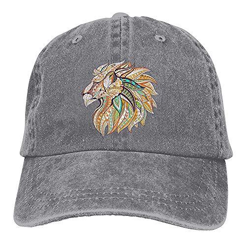 Egoa verrekijker hoed unisex leeuwenkop, die de chique vintage denim baseballmuts Vati-hoed verstelbaar Malt