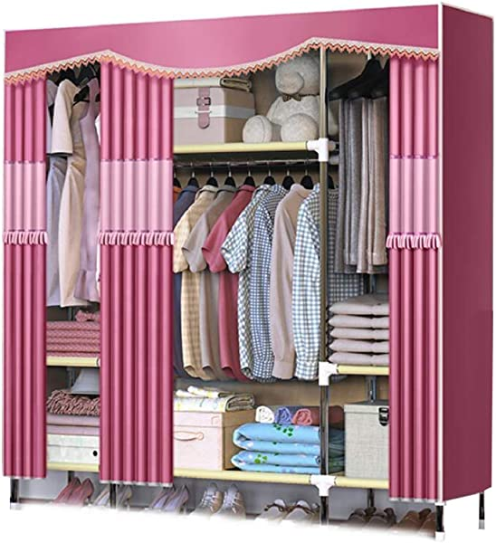 YG BY Wardrobes Fabric Wardrobe Hanging Rod Thicker Storage Portable Closet Shelves Extra Strong And Durable Home Bedroom Furniture 168x172x45CM 66x68x18in Color C