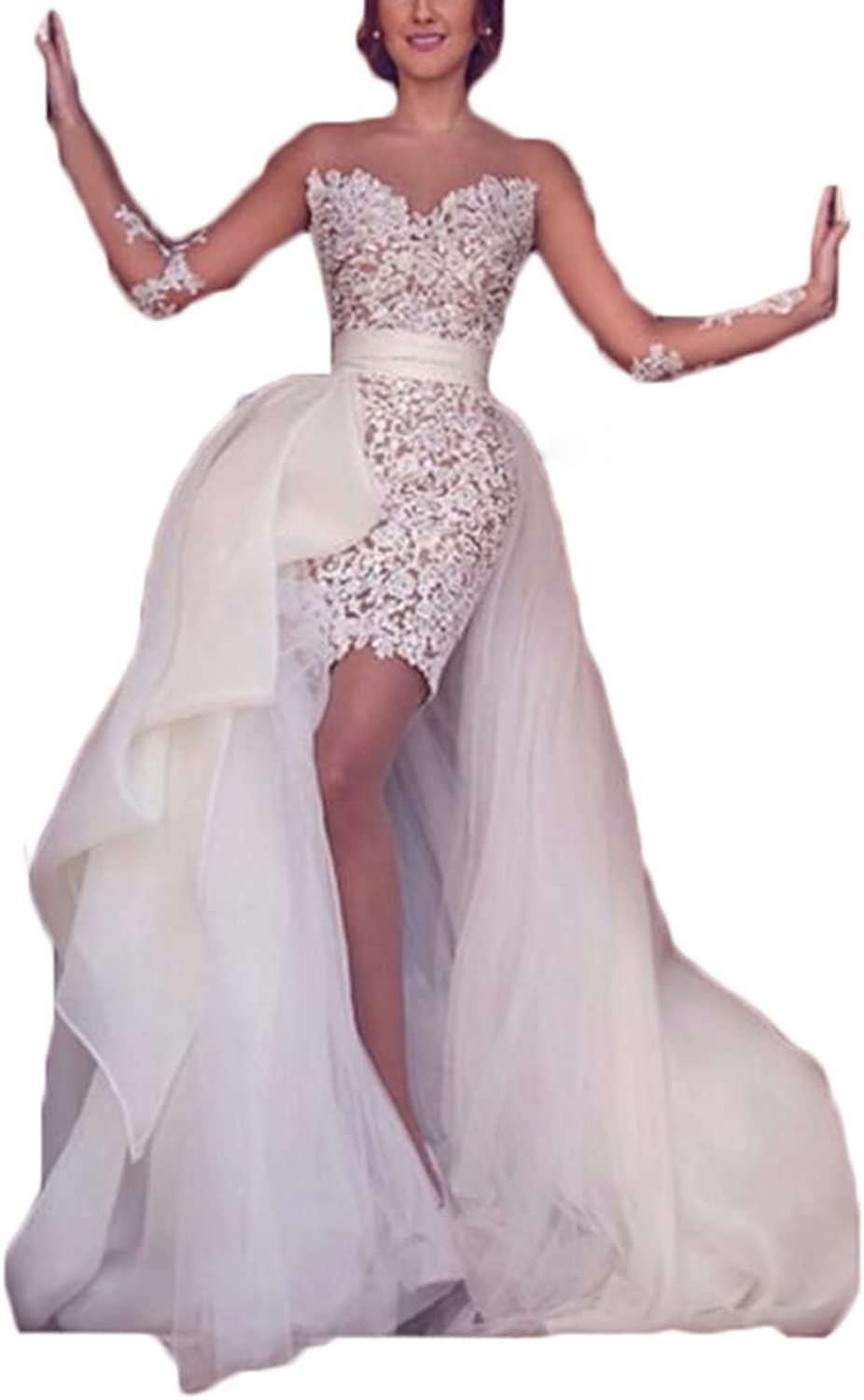 Alilith.Z Sexy Illusion Lace Wedding Dresses for Bride Long Sleeve Bridal Gowns Short Mermaid with Detachable Train