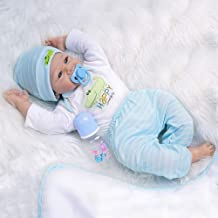 Yesteria Real Life Reborn Baby Dolls Boy 22 Inches Silicone Vinyl Look Real White Light Blue Outfit