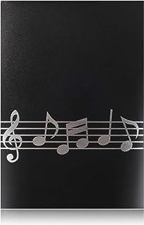 4ページ展開 楽譜ファイル 書込み A4 ライティング 楽譜 6枚収納 楽譜 書き込みできる バンド 発表会 演奏会 楽譜ホルダー(ブラック)