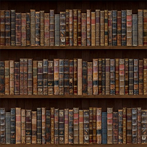 Laeacco Vintage Bookshelf Backdrop 8x8ft Vinyl Photography Background Old Bookshelf Orderly Antique Books Educator Teacher Writer Pupil Professor Classical Grunge Wallpaper Wedding Bookworm Library