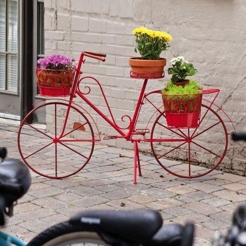 Cape Craftsmen Vintage Red Bicycle Planter - Cottage Style Unique Decorative Planter for Garden, Patio or Yard