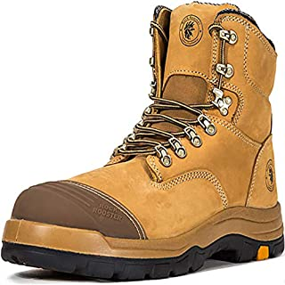Work Boots for Men, Steel Toe, 8 inch Safety Oiled Leather Shoes, Slip On Industrial Boot, Static Dissipative, Breathable, Quick Dry, AK232 AK245