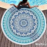 Morbuy Toalla de Playa Redonda, Estilo Mandala Indio Decoración, La Playa Tapiz...