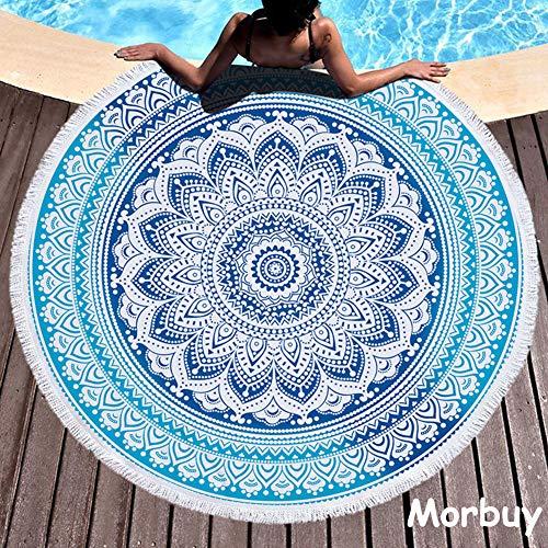 Morbuy Toalla de Playa Redonda, Estilo Mandala Indio Decoracion, La Playa Tapiz de Pared Manta Yoga Picnic Mantel Tassel Beach Towel Blanket Clips, 59 Inch (150cm,Mandala Azul)