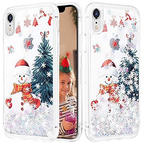 Caka Glitter Case for iPhone XR Christmas Case Glitter Snowman Liquid Snowflake Sparkle Fashion Bling Luxury Flowing Floating Cute Glitter Soft TPU Clear Case for iPhone XR (Snowman)