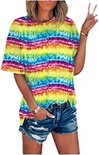 HEFASDM Womens Crewneck Stripes Blouse Tie Dye Short-Sleeve Fashion Tees Top
