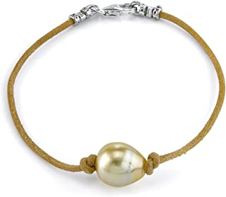 THE PEARL SOURCE Sterling Silver 11-12mm Baroque Genuine Golden South Sea Cultured Pearl Leather Bracelet for Women