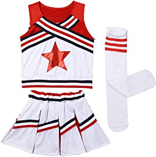 MSemis Girls Classic Cheer Leader Outfit Kids Youth Shell Top Vest Mini Pleated Skirts Socks School Cheer Uniform