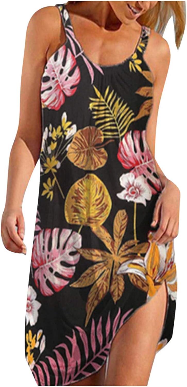 POTO Summer Dresses for Women Casual, Vintage Floral Print Dress Sleeveless Sexy Halter Neck Loose Boho Sun Short Dress