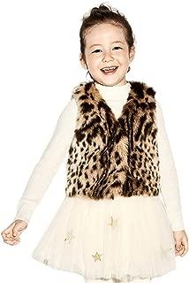 Baby Girl Leopard Faux Fur Vest Brown Vintage Warm Jacket