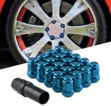 Sporacingrts Lug Nuts 12mmx1.50 Thread Size 20Pcs,Closed End 6 Spline Nut,Bulge Acorn Cone Seat Wheel Locking Nuts,with 3/4 inches and 13/16 inches Hex Security Key Blue