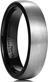 King Will Basic Men's Black Domed Brushed Tungsten Carbide Ring Wedding Band 2mm/4mm/6mm/8mm