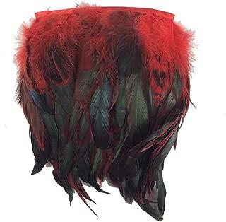 KOLIGHT Pack of 2 Yards Natural Rooster Hackle Feather Trim Fringe 5-7