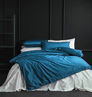 Solid Color Egyptian Cotton Duvet Cover Luxury Bedding Set High Thread Count Long Staple Sateen Weave Silky Soft Breathable Pima Quality Bed Linen (Queen, Turkish Tile)