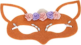 Amosfun Fox Costume Mask Jungle Animal Face Mask Lace Mask for Party Christmas Halloween