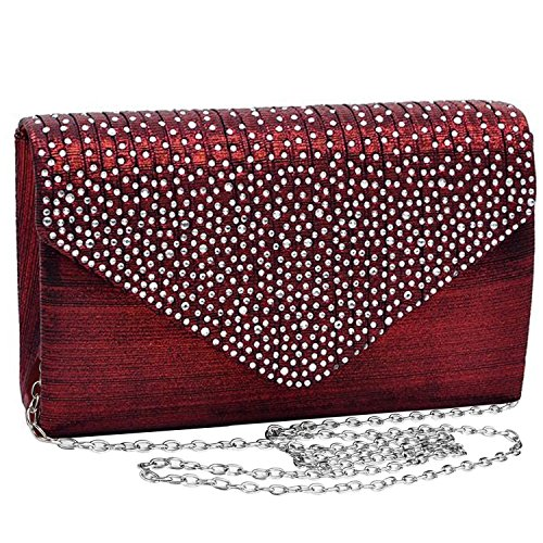 Jubileens Ladies Large Evening Satin Bridal Diamante Ladies Clutch Bag Party Prom Envelope (Wine red), Small