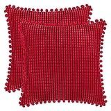 DEZENE 40x40cm Taies d'oreiller Décoratives avec Pompons - Rouge Lot de 2 Housses de Coussin en Carré Velours Côtelé Rayé Big Corn Kernels pour Canapé de Ferme