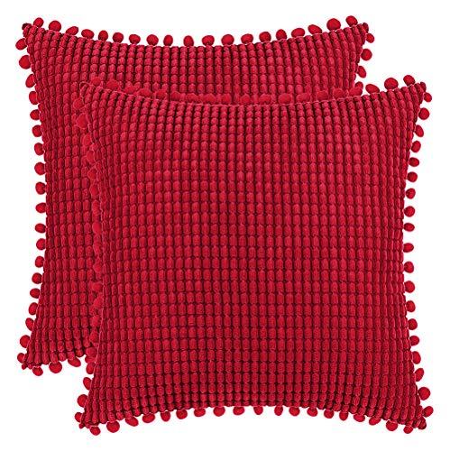 DEZENE 45x45cm Fundas de Almohada Decorativas con Pompones - Rojo Cuadrado Paquete de 2 Fundas de Cojín de Granos de Maíz Grande a Rayas de Pana para Sofá de Granja