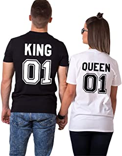 Parejas Camiseta King Queen T-Shirt 100% Algodón Shirts