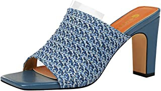 Zanpa Women Fashion Summer Shoes Peep Toe Weave Mules Sandals