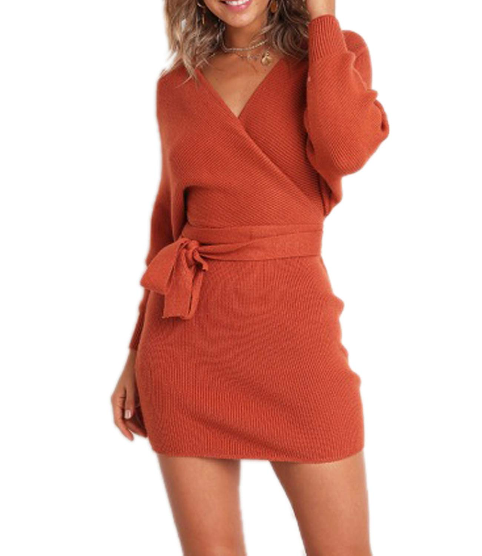 Red Dress - Women's Loose Oversize Turtleneck Wool Long Pullover Sweater Dress