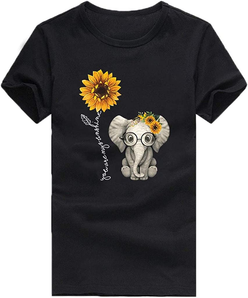 Aukbays Womens Tops Short Sleeve Sunflower and Elephant T-Shirts Graphic Summer O Neck Casual Tees Blouses Shirts Tunic