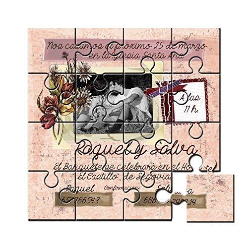 Invitación original para boda en puzzle con foto   Pack de 6 unidades