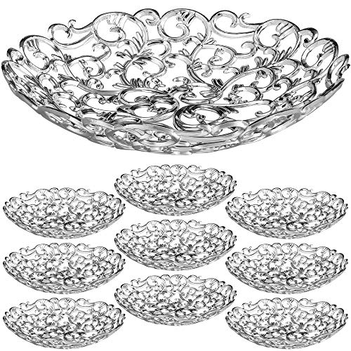 IMPRESSIVE CREATIONS Medium Plastic Silver Serving Dish - 10pk. Reusable Quality Serving Bowl for Fruits, Candy, Appetizers - Vintage Elegant Design for Kitchen, Party, Centerpiece Display