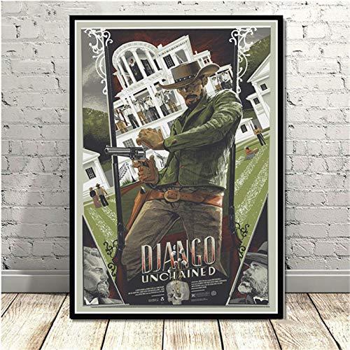 Weijiajia Quentin Poster And Prints Tarantino Django Unchained Classic Film Art Pittura murale Immagini per Soggiorno Decorazioni per la casa 50x70cm (19,68x27,55 in) F-1696