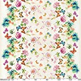 ANRO Wachstuchtischdecke Wachstuch Wachstischdecke Tischdecke Schmetterlinge Wiese Blumen Beige 100 x 140cm - 2
