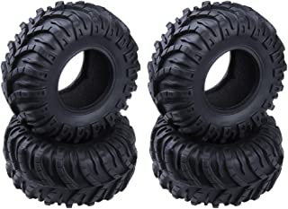 Hobbypark OD 128mm 2.2 inch Tires with Foam Inserts Beadlock Wheel Rims Tyres for 1/10 RC Rock Crawler Truck Replacement (4-Pack)