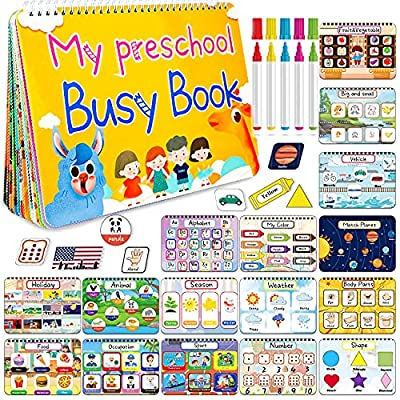 HeyKiddo Toddler Busy Book, Autism Toys for Kids, Preschool Learning Activity Binder, 16 Themes with Colorful Pages, Educational Book for Autism & Special Needs, Drawing Book for Home School Learning by HeyKiddo