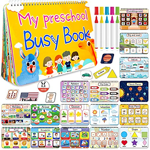 HeyKiddo Toddler Busy Book, Autism Toys for Kids, Preschool Learning Activity Binder, 16 Themes with Colorful Pages, Educational Book for Autism & Special Needs, Drawing Book for Home School Learning