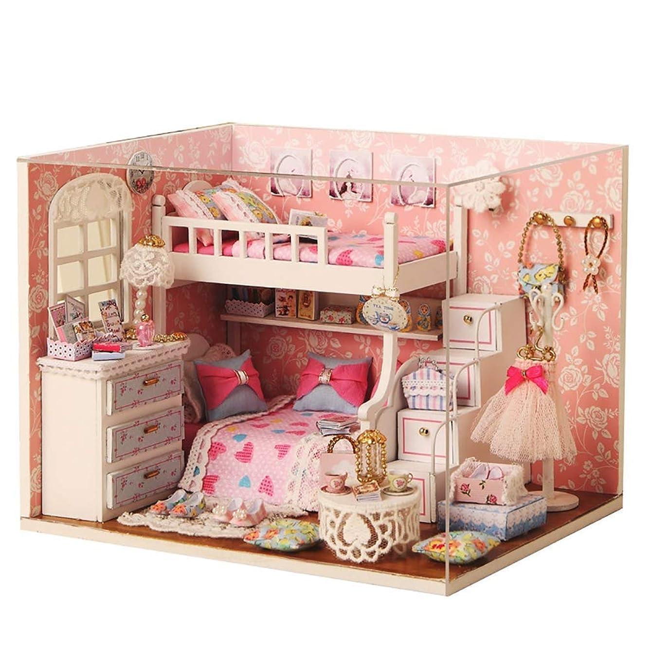 途方もないシンプルなバイバイDiyドールハウス木製ミニチュア家具キット3Dパズルミニハウスピンクドリームベッドルームプラス防塵とLedライトクリエイティブクリスマス誕生日ギフト子供と大人のためのDiyおもちゃ