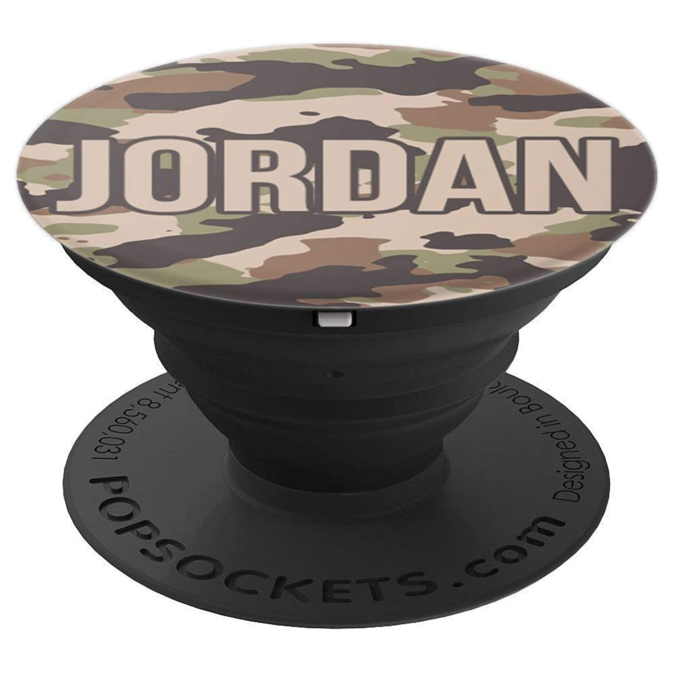 First Name Jordan Green Tan & Brown Camo Pattern PACH582 - PopSockets Grip and Stand for Phones and Tablets