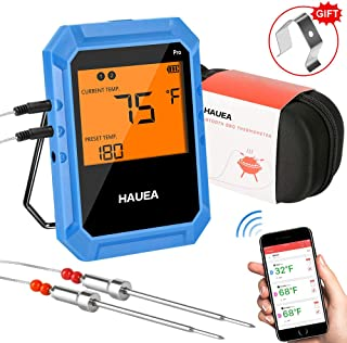 HAUEA Bluetooth Meat Thermometer, Wireless Meat Thermometer for Grilling with 2 Stainless Steel Probes, BBQ Thermometer fo...