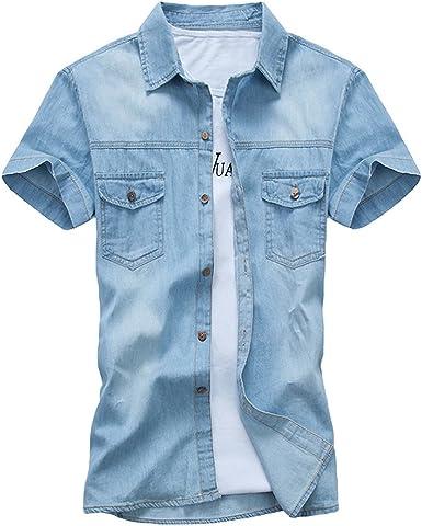 Dooxi Adolescentes Casual Slim Fit Camisa Vaquera Verano Manga Corta Camisas