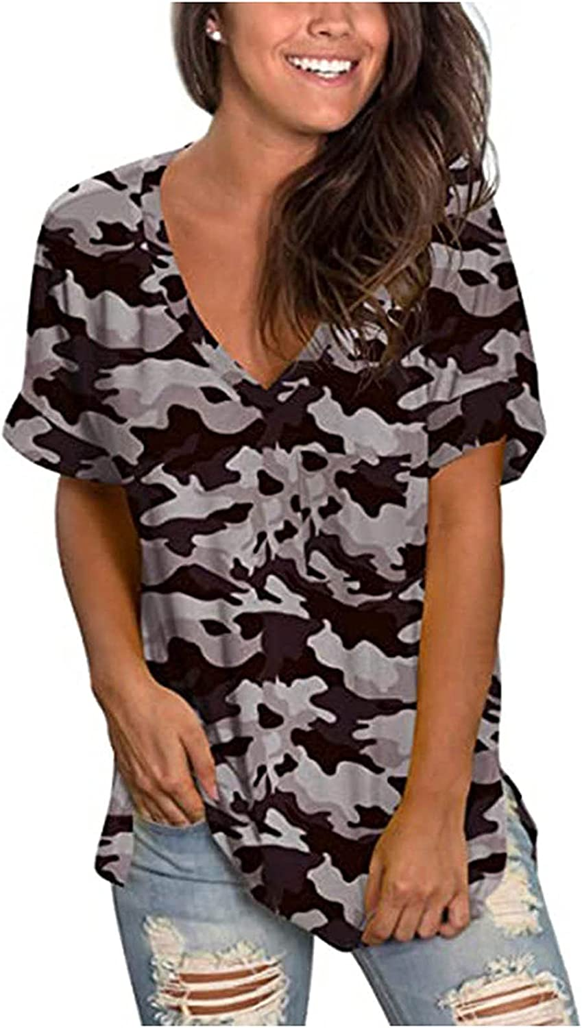 Jaqqra Summer Tops for Women Short Sleeve V Neck Floral Print Flowy T Shirts Casual Loose Blouse Tops Tunic Plus Size