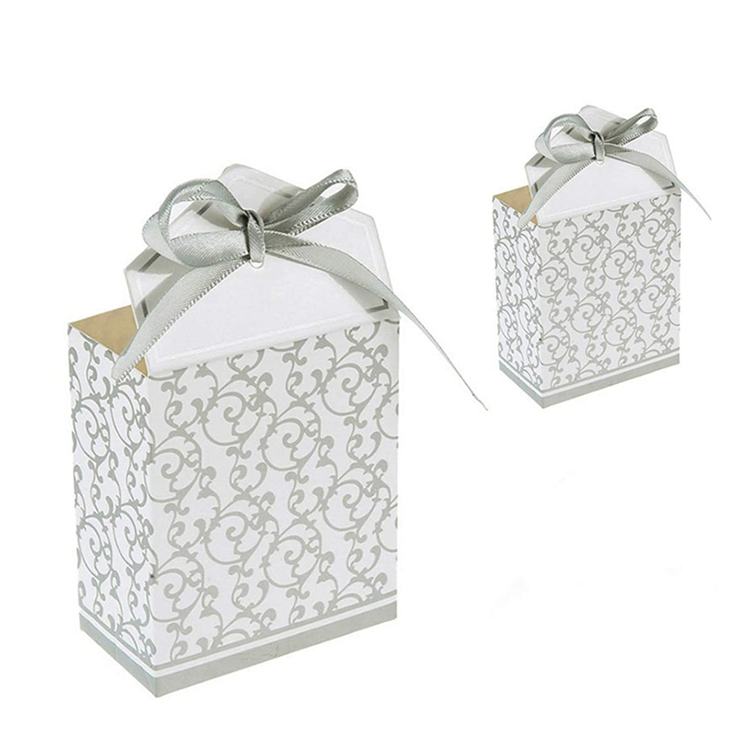 50 Pcs Silver Candy Boxes Gift Boxes Cake Boxes Candy Bag with Gift Ribbons for Wedding Favor Birthday Party Bridal Shower