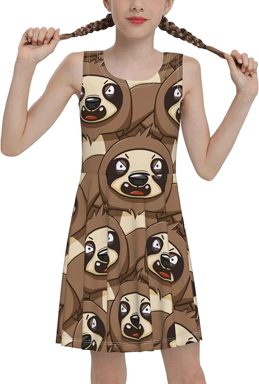 SDGhgHJG Lazy Sloth Sleeveless Dress for Girls Casual Printed Lightweight Skirt