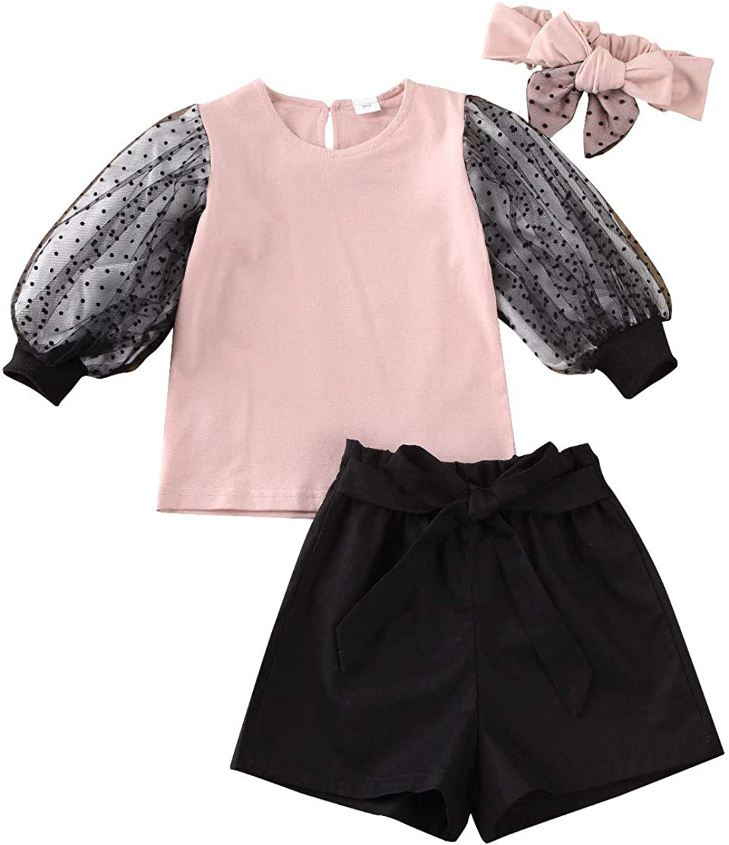 Toddler Baby Girl Max 57% OFF Summer Clothes Sleeve Pink Direct stock discount Lace Top+Waist Long