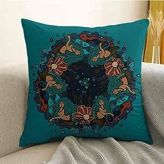 Mermaid Pillowcase hug pillowcase cushion pillow Marine Theme Circle of Mermaids Illustration Vintage Style Ornamental Pattern Decor Anti-wrinkle fading anti-fouling W20 x L20 Inch Teal Red Cream